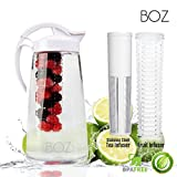 BOZ Dual 2-in-1 Fruit Infuser and Stainless Steel Tea Steep Strainer Large Serving Pitcher, BPA-Free