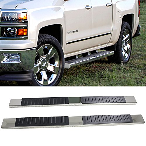 Running Boards Fits 2007-2013 Chevy Silverado | Crew Cab 6 inch Side Step Bar SS Chrome by IKON MOTORSPORTS | 2008 2009 2010 2011 2012