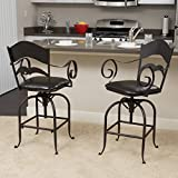 Great Deal Furniture (Set of 2) Hale Black Iron Swivel Barstool