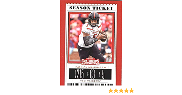 2019 Panini Contenders Draft Tickets Season Ticket #79 Patrick Mahomes II NM-MT Texas Tech Red Raiders Officially Licensed NCAA Collegiate Football T