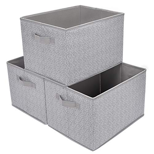 (GRANNY SAYS Storage Basket for Shelves, Fabric Closet Storage Bins Cube Box with Handle Home Office Fabric Organizer, Large, Gray, 3-Pack)