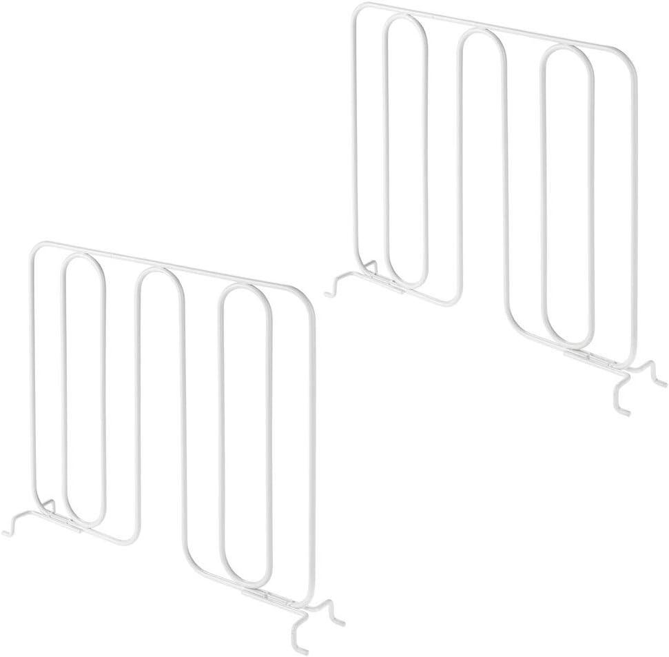 mDesign Juego de 2 separadores met/álicos para organizar armarios y estanter/ías Sistema de Accesorios para armarios sin Tornillos Pr/ácticos divisores de estantes y repisas Blanco Mate