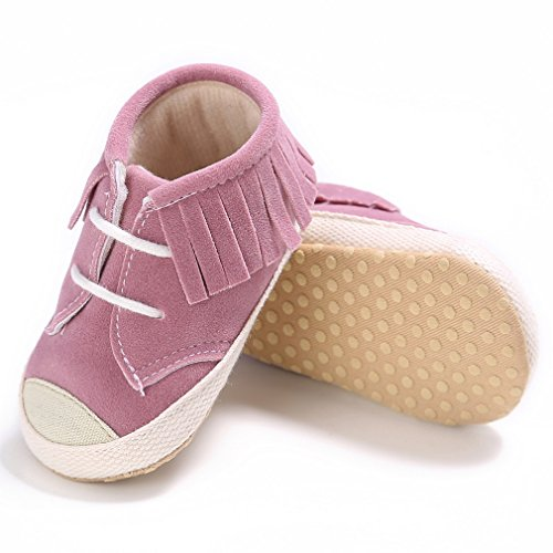 La Vogue Zapatos Antideslizante con Flecos 3 Colores para Bebé Niña de Primavera y Otoño Rosa