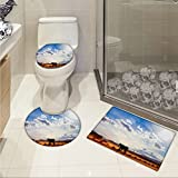 jwchijimwyc Western Increase Horse in Monument Valley Open Sky with Clouds in Arizona America Landscape Print 3 Piece Extended bath mat set Cream Blue