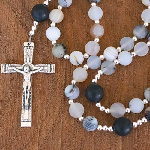 Catholic Rosary featuring Montana Agate & Black Onyx Matte Gemstone Beads Handmade by Holy Rocks