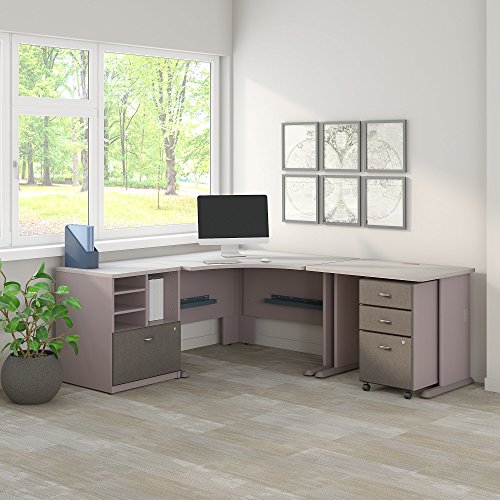 Bush Business Furniture Series A 48W Corner Desk with 36W Return and Storage in Pewter and White Spectrum ()