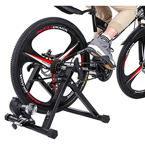 Bike Trainer Stand Steel Bicycle Exercise Magnetic Stand with Front Wheel Riser Block Stand Magnetic Bicycle Stationary Stand