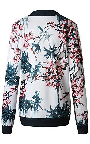 Blouson Coat Court Femmes pour Motifs Motard Casual Blouson Floral Jacket Printemps Impression des Fleurs Veste Zippe Bleu ShallGood A Jacket Automne Outwear Tops Sx6qFq