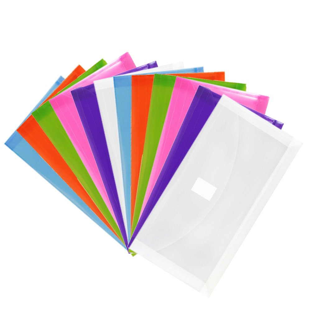 JAM Paper Plastic Expansion Envelopes with Hook & Loop Closure - #10 Booklet Wallet - 5 1/4 x 10 with 1 inch Expansion - Assorted Colors - 12/Pack