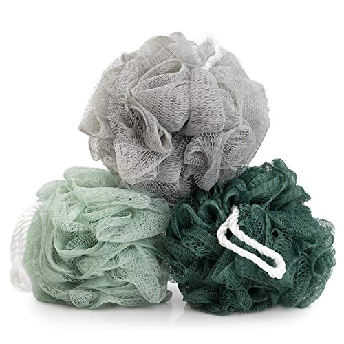 Body Prescriptions 3 Pack Men's Care Exfoliating Loofahs/Shower Poofs in Mint Green, Gray and Dark Green