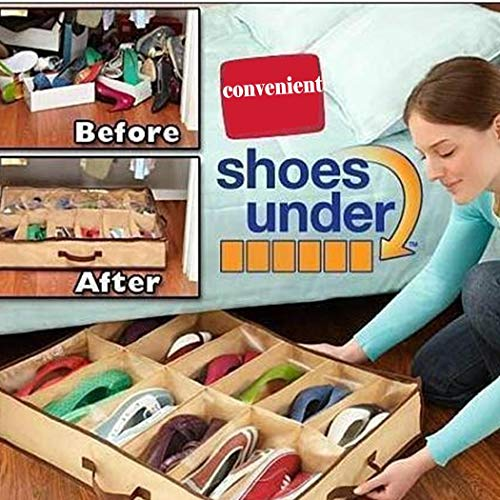 (Susens 12 Grid Shoes Storage Boot Boxes Non-Woven Fabric Shoebox Folding Shoes Organizer)
