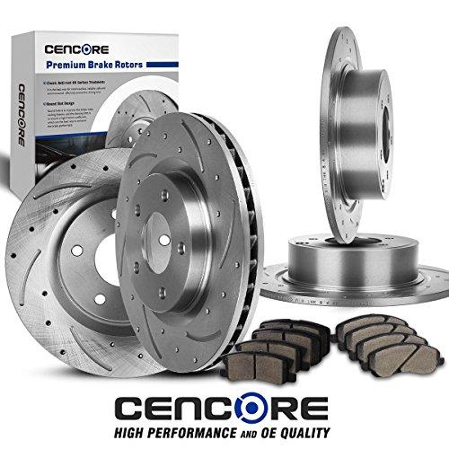 Combo Brake Kit w/ 4 Pcs Brake Rotors 8 Pcs Brake Ceramic P