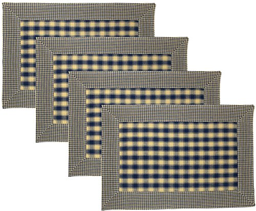 House Check with Mini Check Border 100% Cotton Reversible Placemats, Set of 4 (Navy (Blue Gingham Mini)