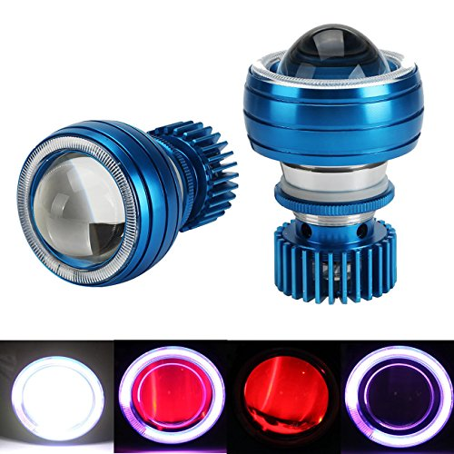 Motorcycle Headlights , INNOGLOW LED Projector Hi-Lo Beam Headlight 12V w/ Blue CCFL Halo Ring Devil Eyes (Red) Angel Eyes (Purple) for Motorcycle Sportbike Scooter Cruiser (Aftermarket Motorcycle Headlights compare prices)