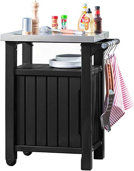 Keter Barbecue Table D Appoint 1 Porte Graphite 54 X 70 X 90 Cm 6130 Amazon Fr Jardin