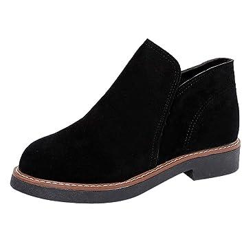 Fuxitoggo Zapatos con Punta Redonda para Mujer Botines Planos de Gamuza sin Cordones Color sólido 2018 Martin Boots (Color : Negro, tamaño : 3.5 UK): ...