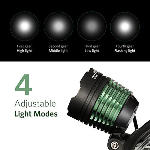 TOPELEK Lampe Frontale Rechargeable, LED Frontale Orientable, Léger, Confortable, 4 Modes d'Eclairage avec Câble USB et 2 Piles, Haut Eclairage, 400m de la Distance d'Eclairage