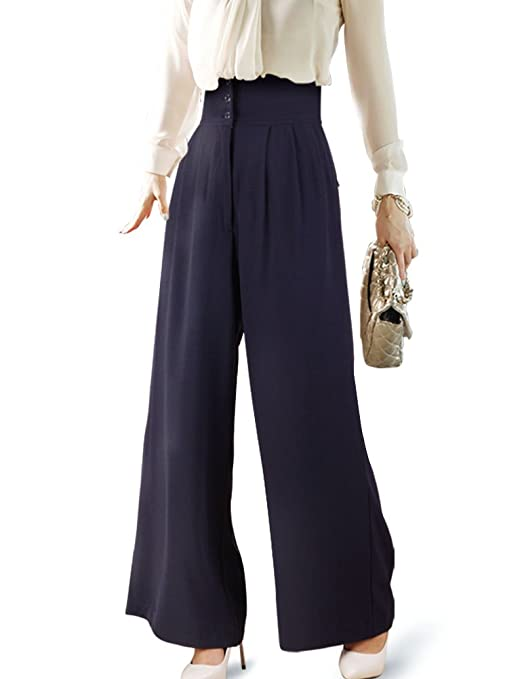 1940s Pants History- Overalls, Jeans, Sailor, Siren Suits DELUXSEY Silhouette-Lengthening High Waist Wide Leg Pants Palazzo Pants 4 Women $34.99 AT vintagedancer.com