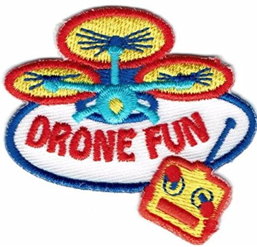 Cub Girl Boy DRONE FUN Embroidered Iron-On Fun Patch Crests Badge Scout Guides
