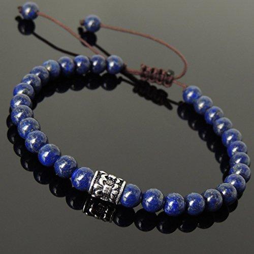 Healing Lapis Lazuli Gemstones Genuine Sterling Silver Fleur De Lis Bead Handmade Adjustable Braided Drawstring Bracelet with 6mm - Fleur Lis Bracelet Stretch De