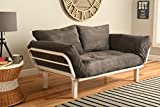 White Metal Frame Small Futon Lounger Furniture for Studio Loft College Dorm Apartments