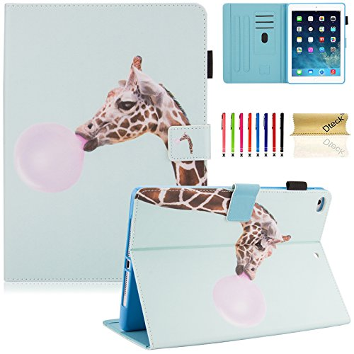 Dteck iPad 9.7 Inch 2018 2017 / iPad Air 2 / iPad Air Case - Multi-Angle Folio Stand Cover with Auto Sleep/Wake Function Wallet Protective Case for Apple iPad 9.7 inch 2017/2018, iPad Air 1 2,Giraffe ()