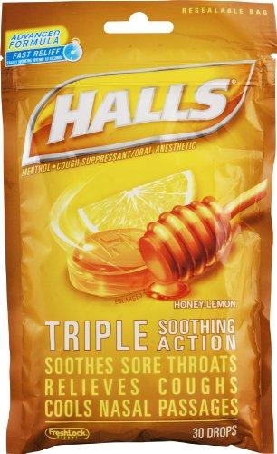 Mentho Drops Honey Lemon Lyptus (Halls Mentho-Lyptus Drops Honey-Lemon - 30 ct, Pack of 3)