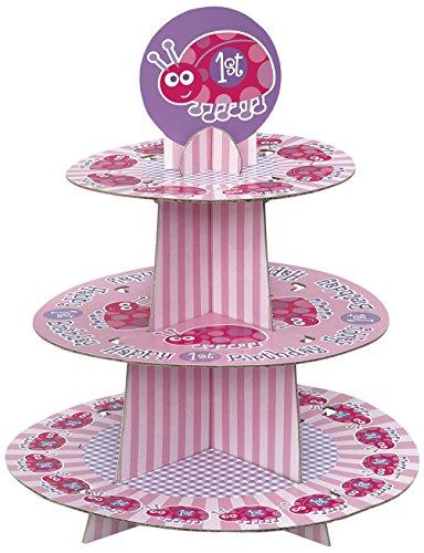 Cardboard Ladybug 1st Birthday Cupcake Stand -