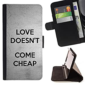 DEVIL CASE - FOR Sony Xperia Z1 L39 - Love Doesn'T Come Cheap Text Grey Black - Style PU Leather Case Wallet Flip Stand Flap Closure Cover