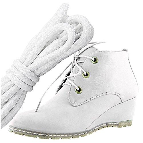 Dailyshoes Moda Donna Allacciatura Punta Rotonda Stivaletto Zeppa Alta Oxford Con Zeppa, Bianco Nero Bianco Pu
