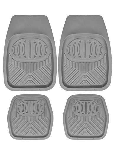 - Mann Pack of 4 Front & Rear, Driver & Passenger Seat Ridged Heavy Duty Rubber Floor Car Mats Charcoal