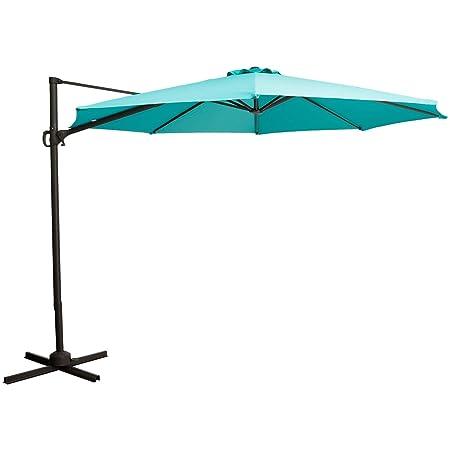 TAGI 10 feet Square Hanging Outdoor Umbrella, Eccentric Patio Umbrella, Infinite tilt, 8 Iron Ribs, rotatable, Peacock Blue