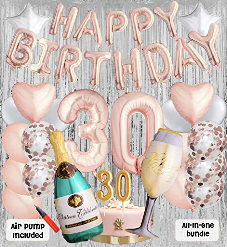 30th Birthday Party Balloons and Decoration Bundle - 43 Pieces Party Supplies and Balloons All in One Set - Rose Gold Happy Birthday Balloons, 30 Number Balloons, Air Pump