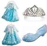 NWT Disney Store Frozen LOT Elsa Costume 7/8 + Tiara / Crown + Shoes 2/3 Bundle
