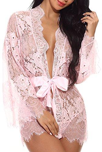 Pink Kimono Set - JOELLYUS Womens Lace Kimono Robe Lingerie Babydoll Nightgown (Pink, L)