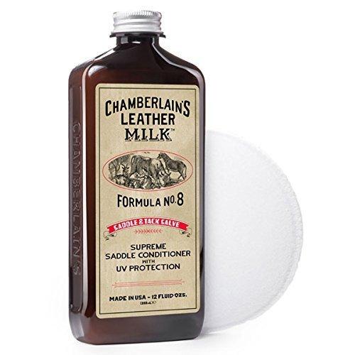 Chamberlain' s Leather Milk - Detergente e rivitalizzare per selle e finimenti - sapone cuoio Saddle Soap No. 8 - naturale, atossico - balsamo con protezione UV Privo di coloranti e profumo. Made in USA. Spugnetta per il trattamento incluse nella con