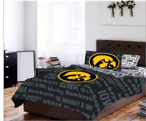 Iowa Hawkeyes NCAA TWIN Comforter & Sheets (4 Piece Bed In A Bag)