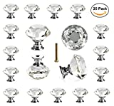 #9: 25 pcs Crystal Glass Knobs Drawer Pulls for Kitchen Bathroom Cabinet, Dresser and Cupboard by DeElf