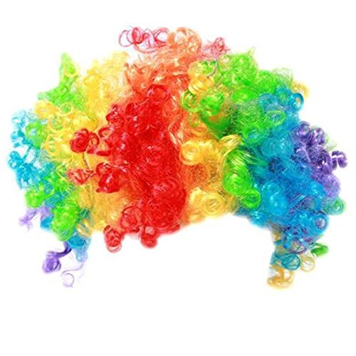 Disco Colourful Party Afro Clown Hair Football Fan Adult Child Costume Curly Wig (colorful) -