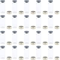 Flameer Serum Liquid Containers Clear Vials Rubber Stopper with Aluminum Pull-tab Seals 20 Pack - 10ml