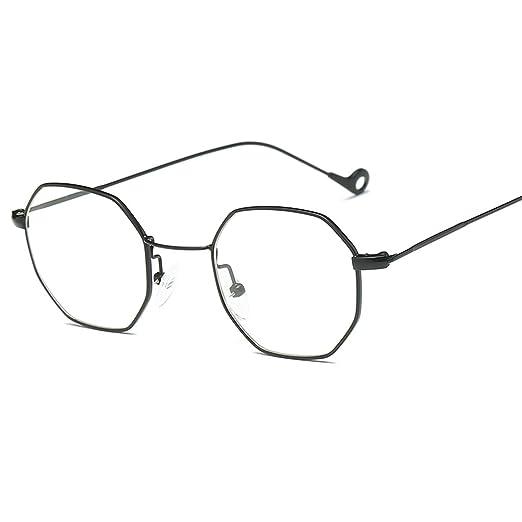2432c45b0d3d Amazon.com  Yumian Unisex Hexagon Square Sunglasses Mirror Sunglasses Clear  Glasses Oversized Sunglasses (Black Flat Glasses)  Clothing