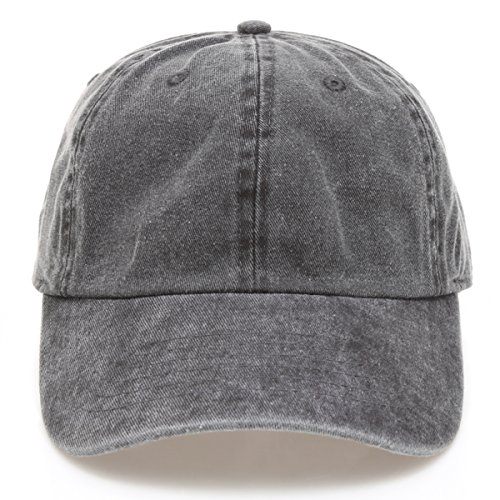 MIRMARU Low Profile Vintage Washed Pigment Dyed 100% Cotton Adjustable Baseball Cap Hat.(Black)