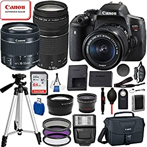 Canon EOS Rebel T6i Digital SLR Camera with EF-S 18-55mm is STM and EF 75-300mm Lens (Black) 19PC Professional Bundle Package Deal –SanDisk 64gb SD Card + Canon Shoulder Bag + More