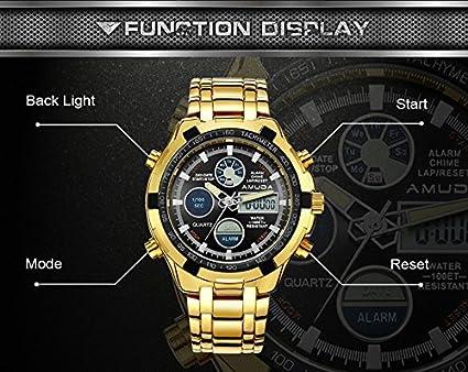 cfc71f2fe550 Hombres Moda relojes marca de lujo oro Golden Relojes Hombres Deportes  quartz-watch Dual tiempo Relogio