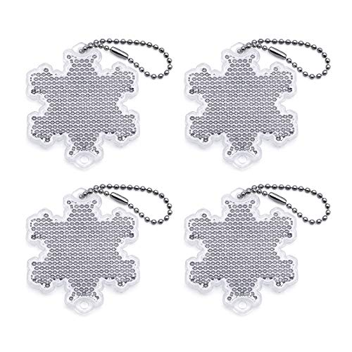 4Pcs Super Bright Safety Reflector - Snowflake Shapes - Stylish Reflective Gear for Jackets, Bags, Purses, Backpacks, Strollers and Wheelchairs,Christmas Halloween Party Hanging Decoration (Snowflake) -