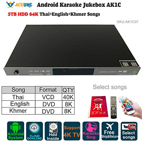 5TB HDD 64K Songs Thai, New Khmer/Cambodian DVD, NEW English Songs Android Karaoke Machine,Songs Player,Jukebox.YOUTUBÊ Songs supported (Khmer Keyboard)