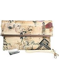 Missy K Women's Postage Stamp Envelope Flap Clutch Handbag + kilofly Money Clip