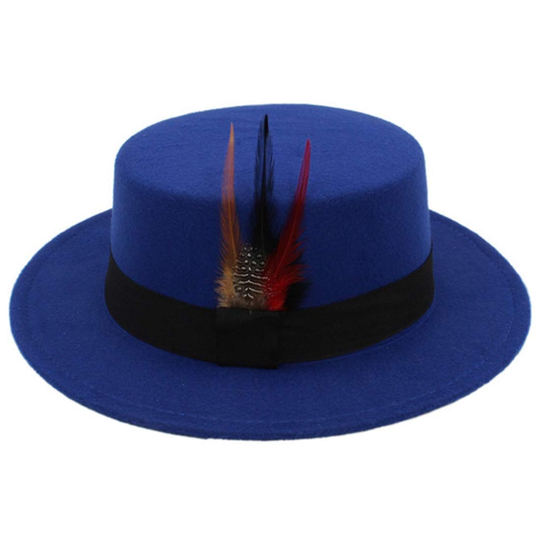 73fe4906 Men's Classic Wool Felt Fedora Hats Fashion Vintage Porkpie Hat Jazz Cap  with Feather and Black Band at Amazon Men's Clothing store: