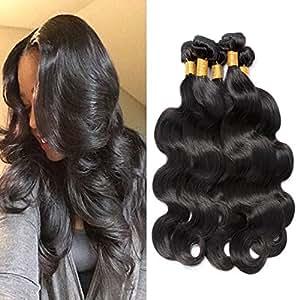 "Rechoo Virgin Double Weft Hair Bundles Deal 6A Grade Mixed Length Brazilian Virgin Remy Human Hair Extension Weave 3 Bundles 300g - Natural Black,Body Wave (10""12""14"")"