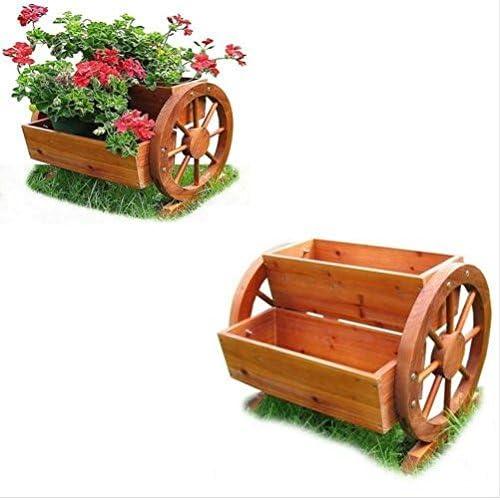 Caja de flores maceta con Wagon ruedas flores hierbas jardín decoración 2 macetas/guantes de jardinería